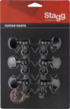 3L + 3R black individual machine heads for electric or folk guitars (ST-KG371BK)