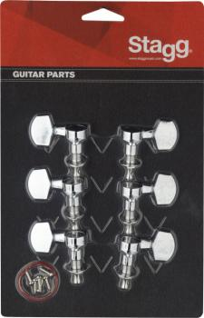3L + 3R chrome individual machine heads for electric or folk guitars (ST-KG371CR)