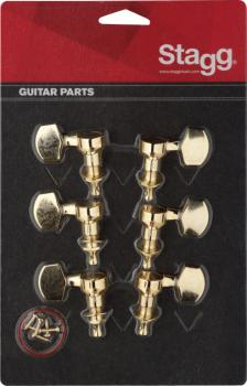 3L + 3R golden individual machine heads for electric or folk guitars (ST-KG371GD)