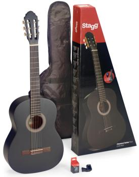 Guitar pack with 4/4 black classical guitar with linden top, tuner, ba (ST-C440 M BLK PACK)
