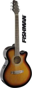 Mini-jumbo electro-acoustic cutaway concert guitar with FISHMAN preamp (ST-SA40MJCFI-BS)