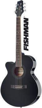 Mini-jumbo electro-acoustic cutaway concert guitar with FISHMAN preamp (ST-SA40MJCFI-LH BK)