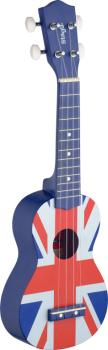 Graphic series traditional soprano ukulele with linden top, with black (ST-US UK-FLAG)