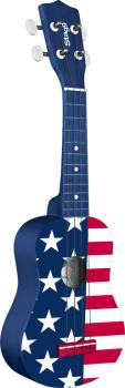 Graphic series, traditional soprano ukulele, in black nylon gigbag (ST-US USA-FLAG)