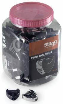 Box of 100 pick holders, black and chrome (ST-PHB-100 BK/CR)