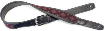 Black leatherette guitar strap with black and red woven diamonds (ST-SFLW-DIA RED)