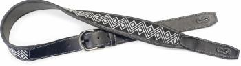 Black leatherette guitar strap with black and white woven zigzags (ST-SFLW-ZIG WHI)