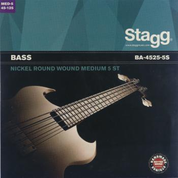 Nickel round wound set of strings for 5-string electric Bass guitar (ST-BA-4525-5S)
