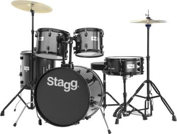 "5-piece, 6-ply basswood, 20"" standard drum set with hardware & cymbals (ST-TIM120B BK)"