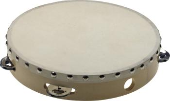 "10"" Pretuned wooden tambourine with rivetted head - 1 row of jingles (ST-STA-1110)"