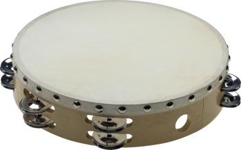 "10"" Pretuned wooden tambourine w/rivetted head - 2 rows of jingles (ST-STA-1210)"