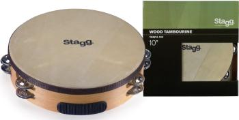 "10"" Pretuned wooden tambourine with 2 rows of jingles (ST-TAWH-102)"