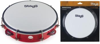 "8"" Tuneable plastic tambourine with 1 row of jingles (ST-TAB-108P/RD)"