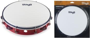 "10"" Tuneable plastic tambourine with 1 row of jingles (ST-TAB-110P/RD)"