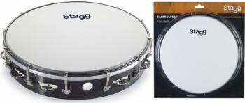 """12"""" Tuneable plastic tambourine with 1 row of jingles (ST-TAB-112P/BK)"""
