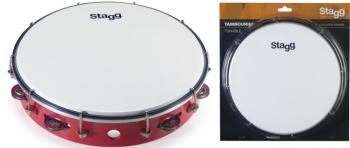 """12"""" Tuneable plastic tambourine with 1 row of jingles (ST-TAB-112P/RD)"""