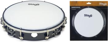 "10"" Tuneable plastic tambourine with 2 rows of jingles (ST-TAB-210P/BK)"