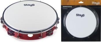 "10"" Tuneable plastic tambourine with 2 rows of jingles (ST-TAB-210P/RD)"