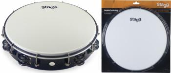 """12"""" Tuneable plastic tambourine with 2 rows of jingles (ST-TAB-212P/BK)"""