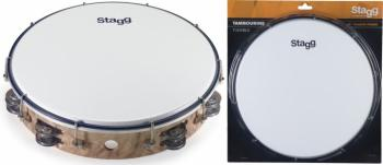 "12"" Tuneable plastic tambourine with 2 rows of jingles (ST-TAB-212P/WD)"