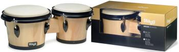 "7.5"" and 6.5"" natural-coloured traditional wood bongos (ST-BW-100-N)"