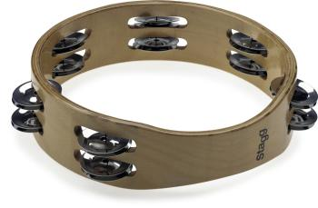 """8"""" Headless wooden tambourine - 2 rows of jingles (ST-STA-3208)"""