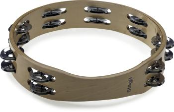 "10"" Headless wooden tambourine - 2 rows of jingles (ST-STA-3210)"
