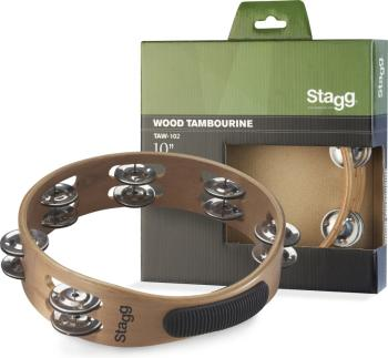 "10"" Headless wooden tambourine with 2 rows of jingles (ST-TAW-102)"