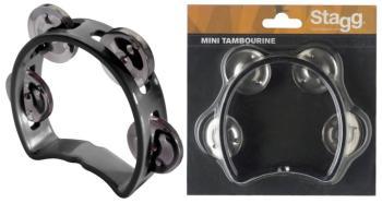 Plastic cutaway mini tambourine with 4 jingles (ST-TAB-MINI/BK)