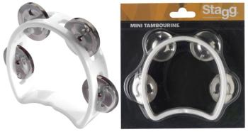 Plastic cutaway mini tambourine with 4 jingles (ST-TAB-MINI/WH)