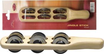 Wooden jingle stick w/6 pairs of jingles (ST-JSK-6/WD)