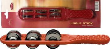 Plastic jingle stick with 6 pairs of jingles (ST-JSK-6/RD)