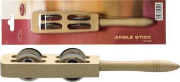 Wooden jingle stick w/4 pairs of jingles (ST-JSK-4/WD)