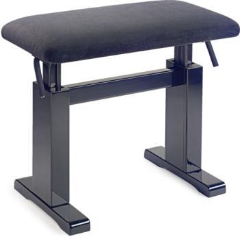Black hydraulic piano bench with black velvet top (ST-PBH 780 BKP VBK)
