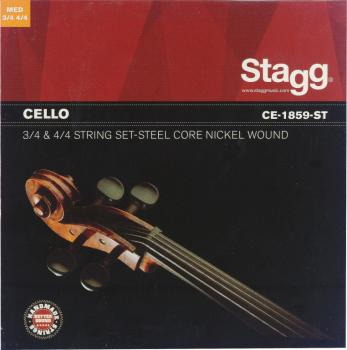 4/4 & 3/4 Cello string set, nickel round-wound, medium (ST-CE-1859-ST)