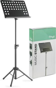 Basic orchestral music stand with metal music rest (+punched holes) (ST-MUS-C5 T)