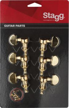 3L + 3R golden individual machine heads for electric or folk guitars (ST-KG395GD)