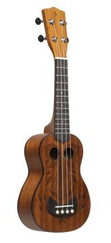 Tiki series soprano ukulele with sapele top, Oh finish, with black nyl (ST-US-TIKI OH)
