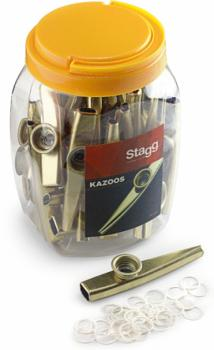 Box of 30 golden metal kazoos (ST-KAZOO METAL-30)