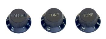 Volume and tone knobs (x 2) for S type electric guitar, black, white l (ST-SP-KNST-BLK)