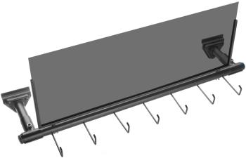 Black iron slatwall display for straps with 7 hooks and 1 frame for si (ST-SLA-STRAP1)