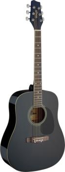 Black dreadnought acoustic guitar with basswood top (ST-SA20D BLK)