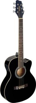 Black Auditorium cutaway acoustic-electric guitar with basswood top (ST-SA20ACE BLK)