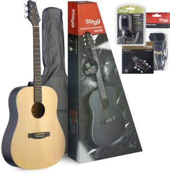 Dreadnought acoustic guitar package + accessories & Starter Guitar Les (ST-SA30D-N PACK)