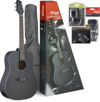 Dreadnought acoustic guitar package + accessories & Starter Guitar Les (ST-SA30D-BK PACK)