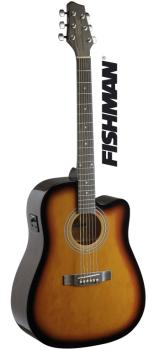 Dreadnought electro-acoustic cutaway concert guitar with FISHMAN pream (ST-SA40DCFI-BS)