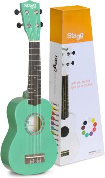Green soprano ukulele with basswood top, in nylon gigbag (ST-US-GRASS)