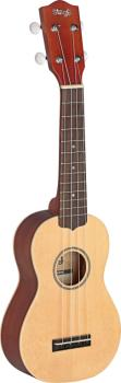 Traditional soprano Ukulele with solid spruce top, in black nylon gigb (ST-US60-S)