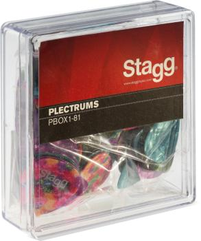 "Pack of 100 Stagg 0.81 mm (0.031"") standard plastic picks, various col (ST-PBOX1-81)"