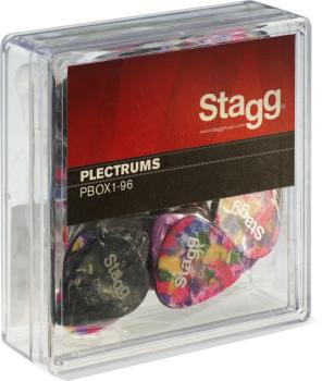 "Pack of 100 Stagg 0.96 mm (0.038"") standard plastic picks, various col (ST-PBOX1-96)"